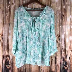 Soieblu Top Floral Blouse Size Large